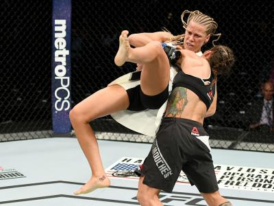 NEW YORK, NY - NOVEMBER 12:  Liz Carmouche of the United States (right) fights against Katlyn Chookagian of the United States in their women's bantamweight bout during the UFC 205 event at Madison Square Garden on November 12, 2016 in New York City.  (Pho