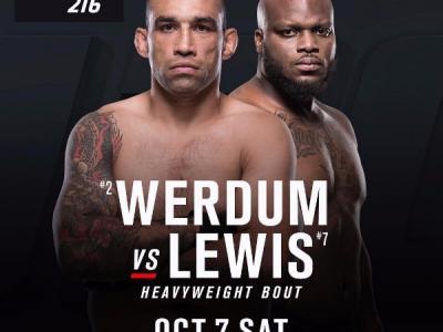 Heavyweight bout Fabricio Werdum vs Derrick Lewis UFC 216