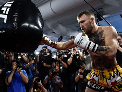 LAS VEGAS, NV - AUGUST 11:  UFC lightweight champion Conor McGregor hits the heavy bag during a media workout at the UFC Performance Institute on August 11, 2017 in Las Vegas, Nevada. McGregor will fight Floyd Mayweather Jr. in a boxing match at T-Mobile