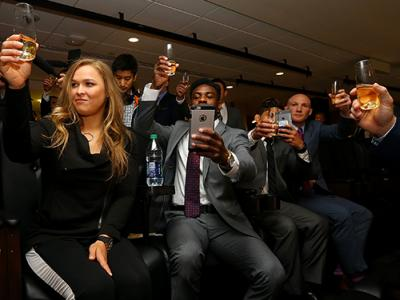 APRIL 14: UFC Fighter Ronda Rousey participates in a toast after a bill is signed to legalize Mixed Martial Arts fighting in the state during a ceremony at Madison Square Garden on April 14, 2016 in New York City. (Photo by Mike Stobe/Zuffa LLC/Zuffa LLC
