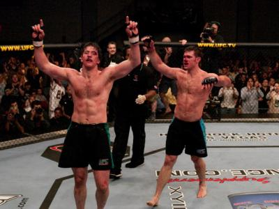 LAS VEGAS, NV - APRIL 09:  (L-R) Stephan Bonnar and Forrest Griffin react after their historic three-round battle during the Light Heavyweight Final bout during the live Ultimate Fighter Season Finale at the Cox Pavilion on April 9, 2005 in Las Vegas, Nev