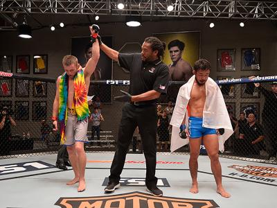LAS VEGAS, NV - AUGUST 10:  (L-R) Tim Elliot celebrates his victory over Hiromasa Ogikubo during the filming of The Ultimate Fighter: Team Benavidez vs Team Cejudo at the UFC TUF Gym on August 10, 2016 in Las Vegas, Nevada. (Photo by Brandon Magnus/Zuffa