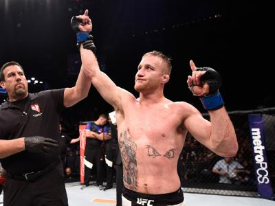 LAS VEGAS, NV - JULY 07:  Justin Gaethje celebrates after defeating Michael Johnson in their lightweight bout during The Ultimate Fighter Finale at T-Mobile Arena on July 7, 2017 in Las Vegas, Nevada.  (Photo by Brandon Magnus/Zuffa LLC/Zuffa LLC via Gett