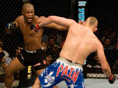 ATLANTA, GA - SEPTEMBER 6:  Rashad Evans (black shorts) def. Chuck Liddell (blue shorts) - KO - 1:51 round 2 during UFC 88 at Philips Arena on September 6, 2008 in Atlanta, Georgia. (Photo by Josh Hedges/Zuffa LLC via Getty Images)