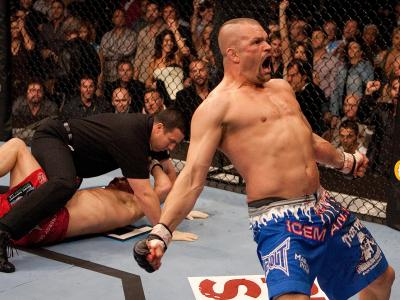 LAS VEGAS, NV - FEBRUARY 04:  Chuck Liddell celebrates after knockout out Randy Couture at UFC 57 at the Mandalay Bay Events Center on February 4, 2006 in Las Vegas, Nevada.  (Photo by Josh Hedges/Zuffa LLC/Zuffa LLC via Getty Images)