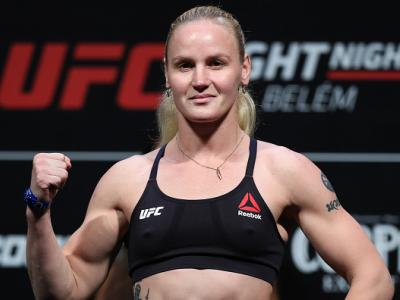 BELEM, BRAZIL - FEBRUARY 02: Valentina Shevchenko of Kyrgyzstan poses on the scale during a UFC Fight Night weigh-in at Mangueirinho Arena on February 02, 2018 in Belem, Brazil. (Photo by Buda Mendes/Zuffa LLC/Zuffa LLC via Getty Images)