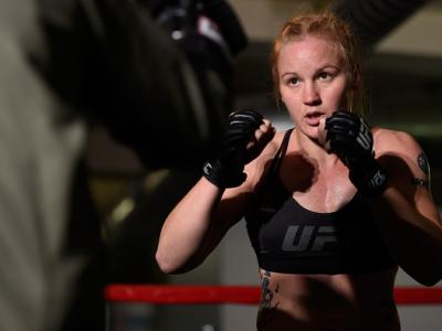 CHICAGO, IL - JULY 21:   Valentina Shevchenko of Kyrgyzstan holds an open workout session for media at the UFC Gym on July 21, 2016 in Chicago, Illinois. (Photo by Josh Hedges/Zuffa LLC/Zuffa LLC via Getty Images)