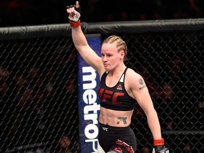 DENVER, CO - JANUARY 28:  Valentina Shevchenko of Kyrgyzstan celebrates her submission victory over Julianna Pena in their women's bantamweight bout during the UFC Fight Night event at the Pepsi Center on January 28, 2017 in Denver, Colorado. (Photo by Jo