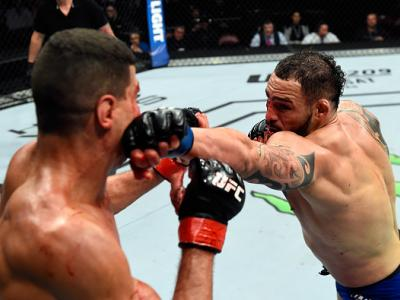 HALIFAX, NS - FEBRUARY 19:  (R-L) Santiago Ponzinibbio of Argentina punches Nordine Taleb of France in their welterweight fight during the UFC Fight Night event inside the Scotiabank Centre on February 19, 2017 in Halifax, Nova Scotia, Canada. (Photo by J