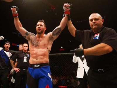 HAMBURG, GERMANY - SEPTEMBER 03:  Ryan Bader  of the USA celebrates his knockout victory over Ilir Latifi of Sweden after in their Light Heavyweight Bout during the UFC Fight Night held at Barclaycard Arena on September 3, 2016 in Hamburg, Germany.  (Phot