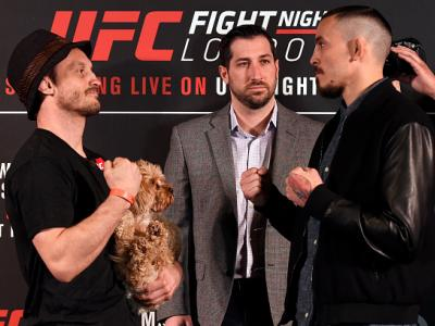 LONDON, ENGLAND - MARCH 16:  (L-R) Opponents Brad Pickett of England and Marlon Vera of Ecuador face off during the UFC Ultimate Media Day at Glaziers Hall on March 16, 2017 in London, England. (Photo by Josh Hedges/Zuffa LLC/Zuffa LLC via Getty Images)