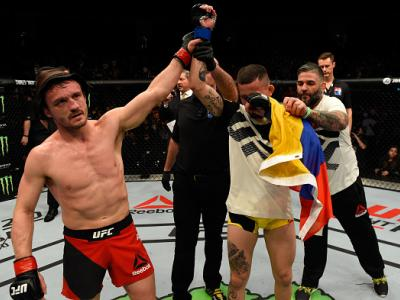 LONDON, ENGLAND - MARCH 18:  (L-R) Brad Pickett of England raises Marlon Vera of Ecuador's hand after their bantamweight fight during the UFC Fight Night event at The O2 arena on March 18, 2017 in London, England. (Photo by Josh Hedges/Zuffa LLC/Zuffa LLC