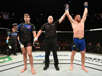 MELBOURNE, AUSTRALIA - NOVEMBER 27:   Andrew Holbrook celebrates his split-decision victory over Jake Matthews of Australia in their lightweight bout during the UFC Fight Night event at Rod Laver Arena on November 27, 2016 in Melbourne, Australia. (Photo