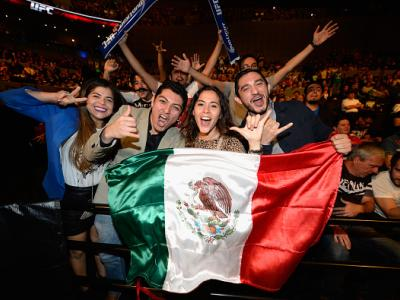 MEXICO CITY, MEXICO - NOVEMBER 15:  Fans cheer with the Mexican flag during the UFC 180 event at Arena Ciudad de Mexico on November 15, 2014 in Mexico City, Mexico.  (Photo by Jeff Bottari/Zuffa LLC/Zuffa LLC via Getty Images)