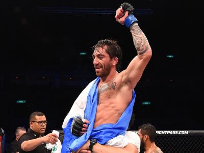 RIO DE JANEIRO, BRAZIL - AUGUST 01:  Guido Cannetti of Argentina celebrates his victory over Hugo Viana of Brazil  in their bantamweight bout during the UFC 190 event inside HSBC Arena on August 1, 2015 in Rio de Janeiro, Brazil.  (Photo by Josh Hedges/Zu