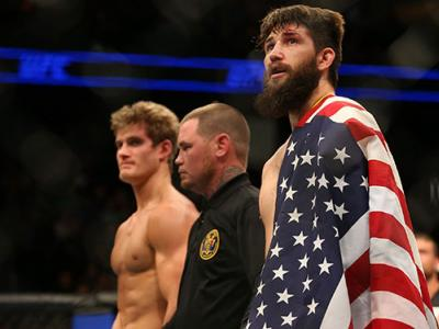 JANUARY 30: (R-L) Bryan Barberena celebrates his submission victory over Sage Northcutt in their welterweight bout during the UFC Fight Night event at the Prudential Center on January 30, 2016 in Newark, New Jersey. (Photo by Ed Mulholland/Zuffa LLC/Zuffa