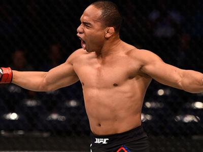 TAMPA, FL - APRIL 16: John Dodson celebrates his knockout victory over Manny Gamburyan in their flyweight bout during the UFC Fight Night event at Amalie Arena. (Photo by Jeff Bottari/Zuffa LLC)