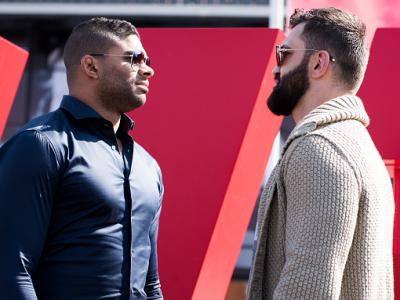 ROTTERDAM, NETHERLANDS - MAY 06:  (L-R) Opponents Alistair Overeem of The Netherlands and Andrei Arlovski of Belarus face off outside Ahoy Rotterdam on May 6, 2016 in Rotterdam, Netherlands. (Photo by Josh Hedges/Zuffa LLC/Zuffa LLC via Getty Images)