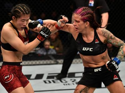 SHANGHAI, CHINA - NOVEMBER 25:  (R-L) Gina Mazany punches Wu Yanan of China in their women's bantamweight bout during the UFC Fight Night event inside the Mercedes-Benz Arena on November 25, 2017 in Shanghai, China. (Photo by Brandon Magnus/Zuffa LLC via