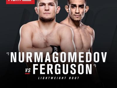 "English fight announcement Khabib ""The Eagle"" Nurmagomedov faces Tony ""El Cucuy"" Ferguson"