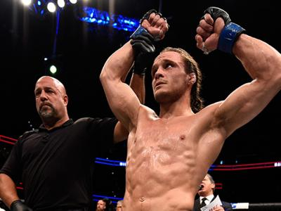 TAMPA, FL - APRIL 16:   Michael Graves celebrates his submission victory over Randy Brown in their welterweight bout during the UFC Fight Night event at Amalie Arena on April 16, 2016 in Tampa, Florida. (Photo by Jeff Bottari/Zuffa LLC/Zuffa LLC via Getty