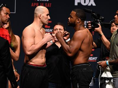 CLEARWATER, FL - APRIL 15:  (L-R) Opponents Glover Teixeira of Brazil and Rashad Evans face off during the UFC Fight Night weigh-in at Ruth Eckerd Hall on April 15, 2016 in Clearwater, Florida. (Photo by Jeff Bottari/Zuffa LLC/Zuffa LLC via Getty Images)
