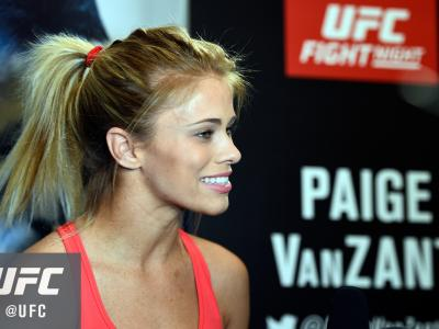 VANCOUVER, BC - AUGUST 25:  Paige VanZant speaks with the media at the Hyatt Regency Vancouver on August 25, 2016 in Vancouver, Canada. (Photo by Jeff Bottari/Zuffa LLC/Zuffa LLC via Getty Images)