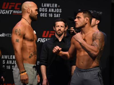 WINNIPEG, CANADA - DECEMBER 15:  (L-R) Robbie Lawler and Rafael Dos Anjos face off during the UFC Fight Night weigh-in on December 15, 2017 in Winnipeg, Canada. (Photo by Josh Hedges/Zuffa LLC/Zuffa LLC via Getty Images)