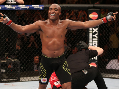 RIO DE JANEIRO, BRAZIL - OCTOBER 13:  Anderson Silva reacts after his TKO victory over Stephan Bonnar during their light heavyweight fight at UFC 153 inside HSBC Arena on October 13, 2012 in Rio de Janeiro, Brazil.  (Photo by Josh Hedges/Zuffa LLC/Zuffa L