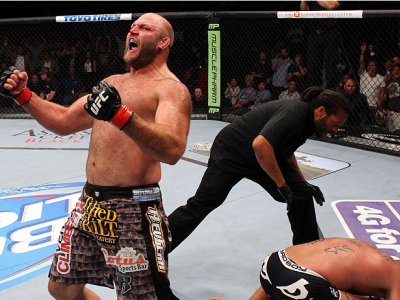 MILWAUKEE, WI - AUGUST 31:  (L-R) Ben Rothwell celebrates after defeating Brandon Vera in their UFC heavyweight bout at BMO Harris Bradley Center on August 31, 2013 in Milwaukee, Wisconsin. (Photo by Ed Mulholland/Zuffa LLC/Zuffa LLC via Getty Images) ***