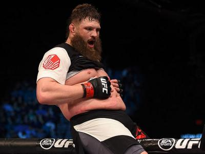 LAS VEGAS, NV - FEBRUARY 06:  Roy Nelson celebrates after defeating Jared Rosholt in their heavyweight bout during the UFC Fight Night event at MGM Grand Garden Arena on February 6, 2016 in Las Vegas, Nevada.  (Photo by Josh Hedges/Zuffa LLC/Zuffa LLC via