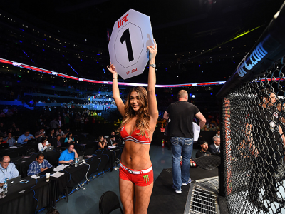 MEXICO CITY, MEXICO - JUNE 13:  UFC Octagon Girl Arianny Celeste introduces the round during the UFC 188 event at the Arena Ciudad de Mexico on June 13, 2015 in Mexico City, Mexico. (Photo by Jeff Bottari/Zuffa LLC/Zuffa LLC via Getty Images)