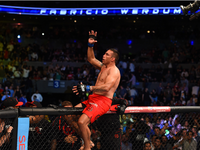 MEXICO CITY, MEXICO - JUNE 13:   Fabricio Werdum of Brazil celebrates his submission victory over Cain Velasquez of the United States in their UFC heavyweight championship bout during the UFC 188 event inside the Arena Ciudad de Mexico on June 13, 2015 in