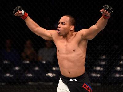 TAMPA, FL - APRIL 16:   John Dodson celebrates his knockout victory over Manny Gamburyan in their flyweight bout during the UFC Fight Night event at Amalie Arena on April 16, 2016 in Tampa, Florida. (Photo by Jeff Bottari/Zuffa LLC/Zuffa LLC via Getty Ima