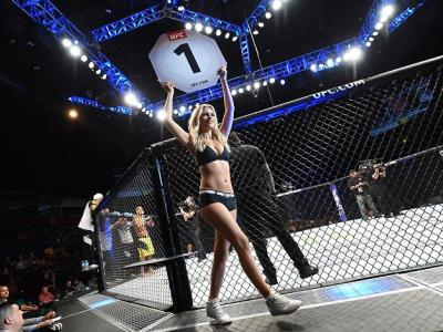 HIDALGO, TX - SEPTEMBER 17:  UFC Octagon Girl Chrissy Blair introduces the first round during the UFC Fight Night event at State Farm Arena on September 17, 2016 in Hidalgo, Texas. (Photo by Josh Hedges/Zuffa LLC/Zuffa LLC via Getty Images)