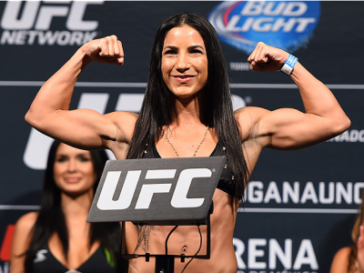 MEXICO CITY, MEXICO - JUNE 12:  Tecia Torres of the United States steps on the scale during the UFC 188 weigh-in inside the Arena Ciudad de Mexico on June 12, 2015 in Mexico City, Mexico. (Photo by Josh Hedges/Zuffa LLC/Zuffa LLC via Getty Images)