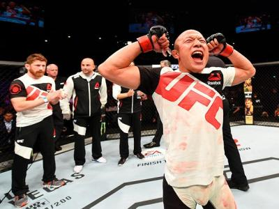 ROTTERDAM, NETHERLANDS - MAY 08:  Kyoji Horiguchi celebrates his victory over Neil Seery in their flyweight bout during the UFC Fight Night event at Ahoy Rotterdam on May 8, 2016 in Rotterdam, Netherlands. (Photo by Josh Hedges/Zuffa LLC/Zuffa LLC via Get