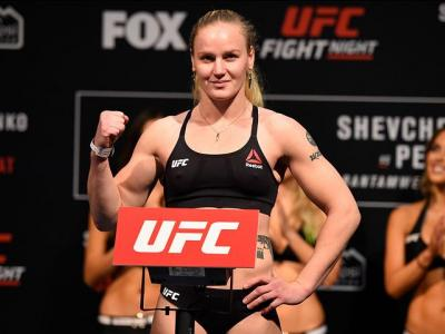 DENVER, COLORADO - JANUARY 27:  Valentina Shevchenko of Kyrgyzstan poses on the scale during the UFC Fight Night weigh-in at the Pepsi Center on January 27, 2017 in Denver, Colorado. (Photo by Josh Hedges/Zuffa LLC/Zuffa LLC via Getty Images)