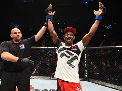 MANCHESTER, ENGLAND - OCTOBER 08:  Marc Diakiese of England celebrates his victory over Lukasz Sajewski of Poland in their lightweight bout during the UFC 204 Fight Night at the Manchester Evening News Arena on October 8, 2016 in Manchester, England. (Pho