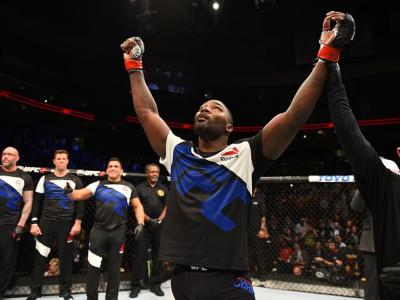NEWARK, NJ - JANUARY 30:  Anthony Johnson celebrates his knockout victory over Ryan Bader in their light heavyweight bout during the UFC Fight Night event at the Prudential Center on January 30, 2016 in Newark, New Jersey. (Photo by Josh Hedges/Zuffa LLC/