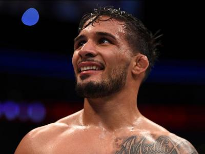 PITTSBURGH, PA - FEBRUARY 21:  Dennis Bermudez celebrates his victory over Tatsuya Kawajiri in their featherweight bout during the UFC Fight Night event at Consol Energy Center on February 21, 2016 in Pittsburgh, Pennsylvania. (Photo by Jeff Bottari/Zuffa