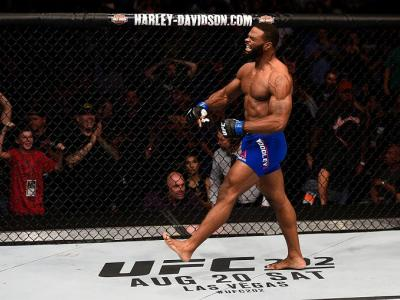 ATLANTA, GA - JULY 30:  Tyron Woodley celebrates his knockout victory over Robbie Lawler in their welterweight championship bout during the UFC 201 event on July 30, 2016 at Philips Arena in Atlanta, Georgia. (Photo by Jeff Bottari/Zuffa LLC/Zuffa LLC via