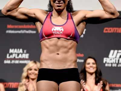 RIO DE JANEIRO, BRAZIL - MARCH 20:  Amanda Nunes of United States  weighs in during the UFC Fight Night Weigh-ins at Maracanazinho  on March 20, 2015 in Rio de Janeiro, Brazil.  (Photo by Buda Mendes/Zuffa LLC/Zuffa LLC via Getty Images)