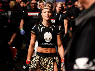 NEWARK, NJ - APRIL 18:  Felice Herrig prepares for her women's strawweight bout against Paige VanZant during the UFC Fight Night event at Prudential Center on April 18, 2015 in Newark, New Jersey.  (Photo by Josh Hedges/Zuffa LLC/Zuffa LLC via Getty Image