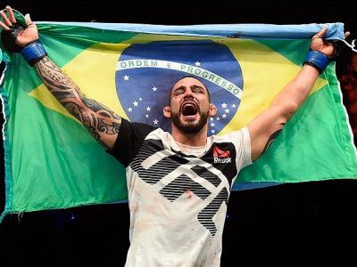 HALIFAX, NS - FEBRUARY 19:  Santiago Ponzinibbio of Argentina celebrates after defeating Nordine Taleb of France in their welterweight fight during the UFC Fight Night event inside the Scotiabank Centre on February 19, 2017 in Halifax, Nova Scotia, Canada