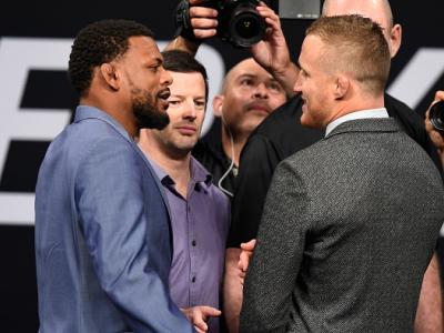 DALLAS, TX - MAY 12:  (L-R) Michael Johnson and Justin Gaethje face off during the UFC Summer Kickoff Press Conference at the American Airlines Center on May 12, 2017 in Dallas, Texas. (Photo by Josh Hedges/Zuffa LLC/Zuffa LLC via Getty Images)