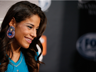 LAS VEGAS, NV - NOVEMBER 27:  The Ultimate Fighter women's bantamweight finalist Julianna Pena interacts with media during media day ahead of The Ultimate Fighter season 18 live finale inside the Mandalay Bay Events Center on November 27, 2013 in Las Vega