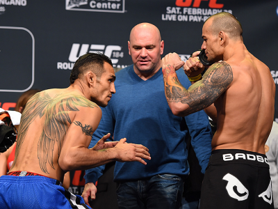 LOS ANGELES, CA - FEBRUARY 27:  (L-R) Opponents Tony Ferguson and Gleison Tibau of Brazil face off during the UFC 184 weigh-in at the Event Deck and LA Live on February 27, 2015 in Los Angeles, California. (Photo by Josh Hedges/Zuffa LLC/Zuffa LLC via Get
