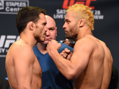 LOS ANGELES, CA - FEBRUARY 27:  (L-R) Opponents Jake Ellenberger and Josh Koscheck face off during the UFC 184 weigh-in at the Event Deck and LA Live on February 27, 2015 in Los Angeles, California. (Photo by Josh Hedges/Zuffa LLC/Zuffa LLC via Getty Imag