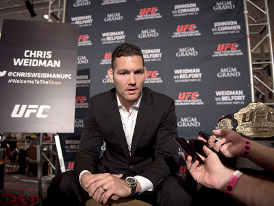 LAS VEGAS, NEVADA - MAY 21: UFC middleweight champion Chris Weidman interacts with the media during the UFC 187 Ultimate Media Day at the MGM Grand Hotel/Casino on May 21, 2015 in Las Vegas Nevada. (Photo by Brandon Magnus/Zuffa LLC/Zuffa LLC via Getty Im